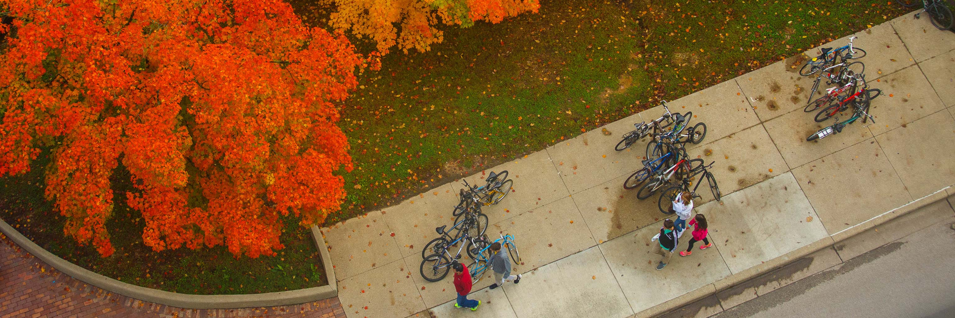 Aerial view of Indiana University students walking on campus sidewalk.