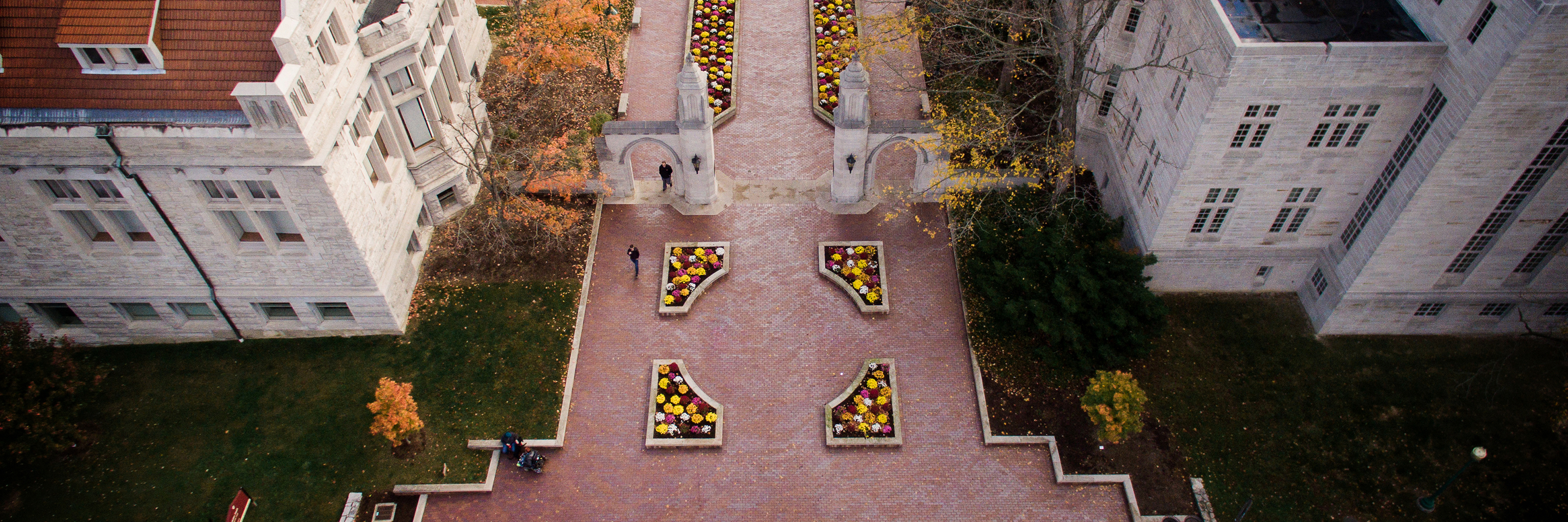 Aerial view of the Sample Gates on the Indiana University campus in Bloomington.
