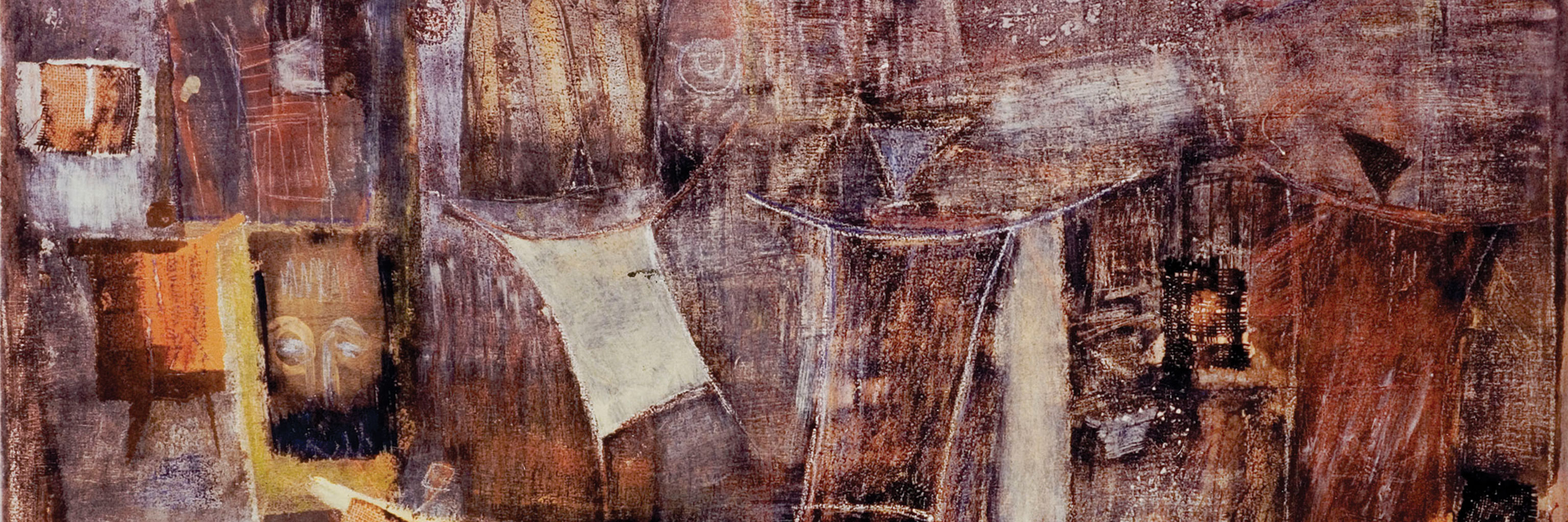 Kalidou Sy, Village, 2000. Acrylic, clay, and burlap on canvas