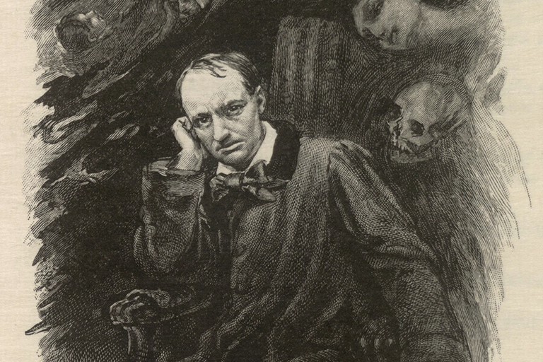 Wood engraved portrait of Charles Baudelaire surrounded by ghosts.