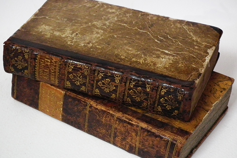 Stack of worn, antique, leather-bound books.