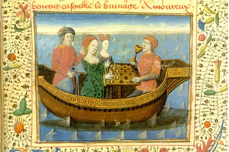 Medieval miniature in French manuscript (ca. 1470, acc.to Hogenelst 1995) of Tristan and Iseult drinking the love potion, while playing chess on board a ship.