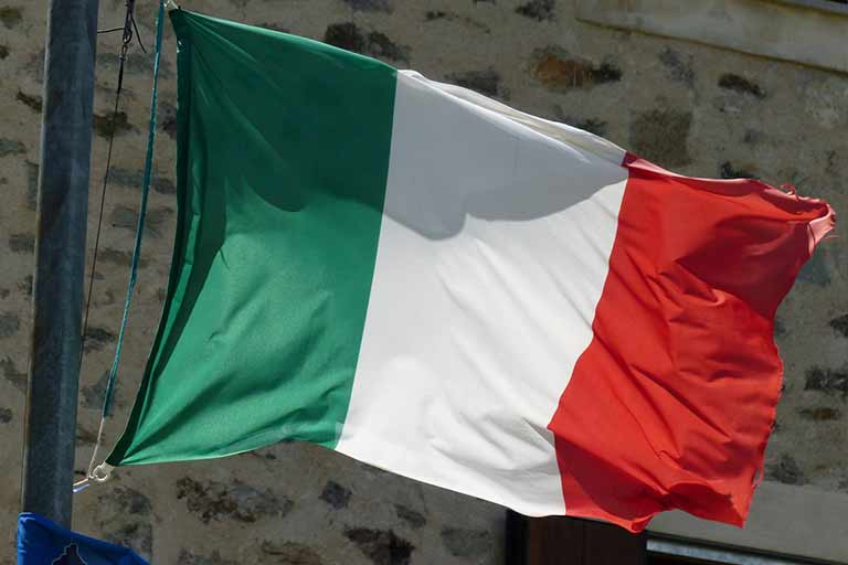 Italian flag waving on flag pole
