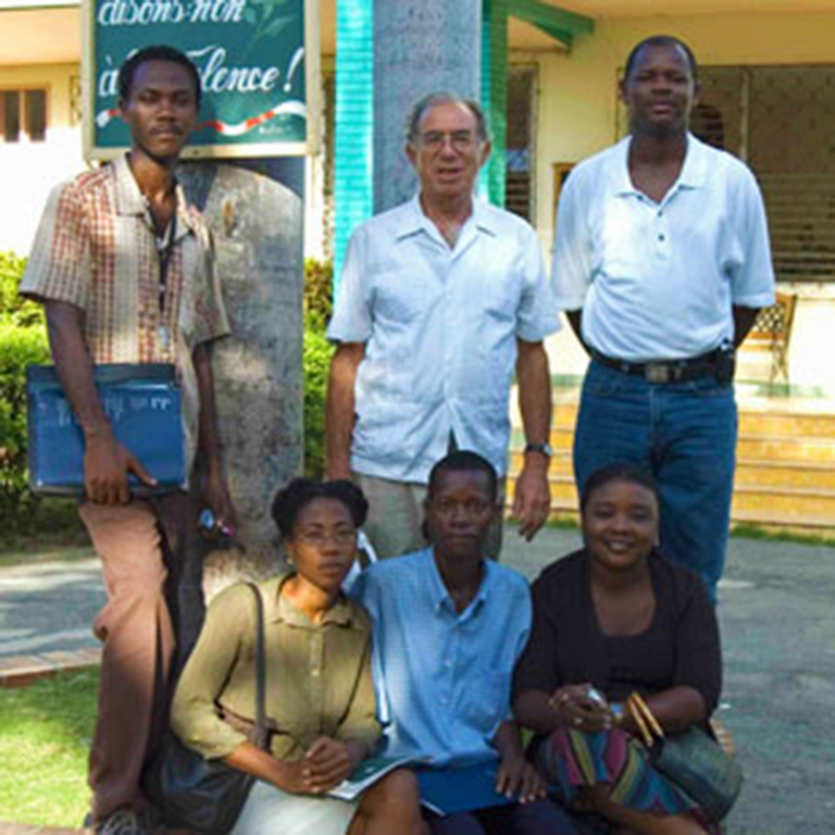 Albert Valdman (center) with research collaborators and teachers in Haiti, 2007. To Prof. Valdman's left is Solfils Telfort, now an MA student in French at IU.