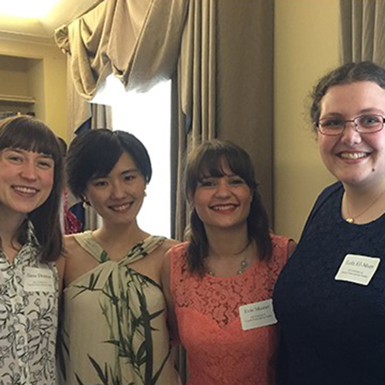 Photo of M.A. graduates in French/Francophone Studies (left to right) Alana Duncan, Yuanshuai Cui, Evie Munier, and Leila El-Murr.