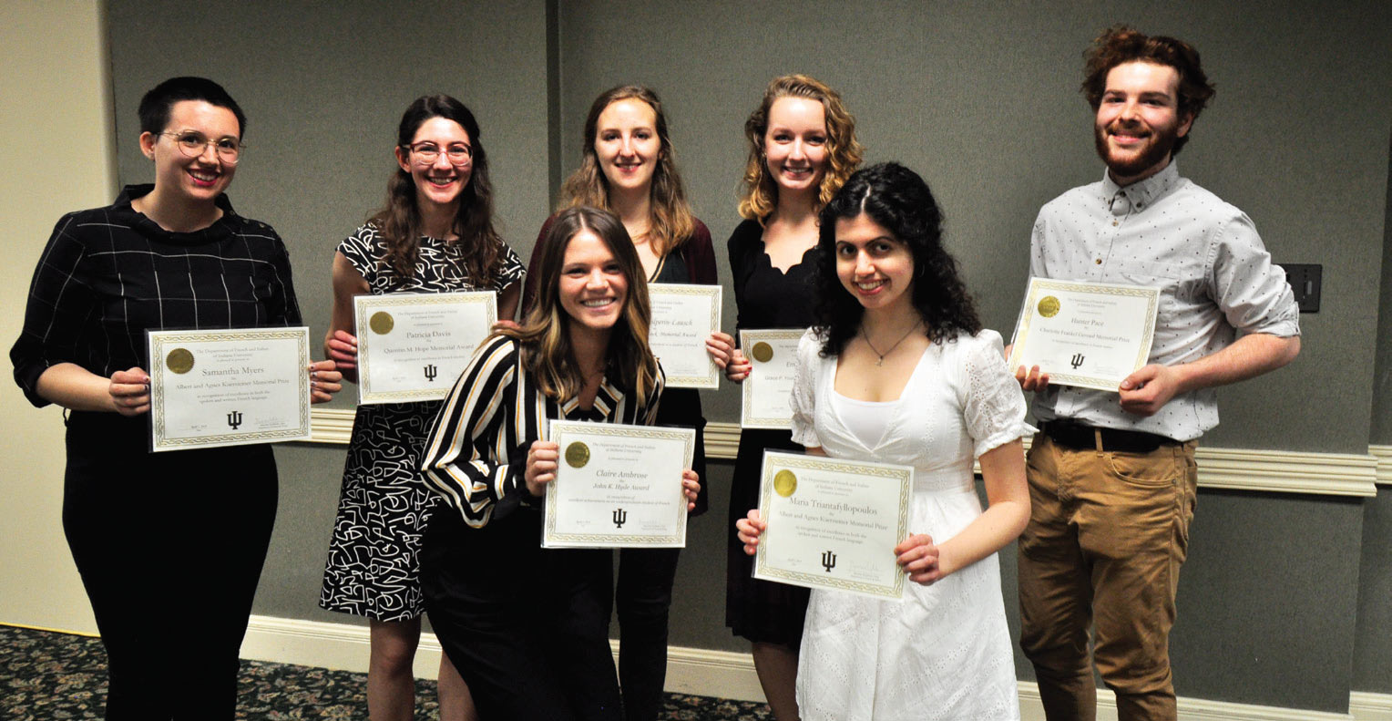 Undergraduate award recipients in French: Samantha Myers, Patricia Davis, Claire Ambrose, Rebecca Hailperin-Lausch, Emma Coates, Maria Triantafyllopoulos, and Hunter Pace. Photo: Carlo Buenconsejo