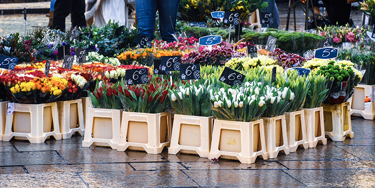 Flowers being sold on the streets of Aix-en-Provence, France.