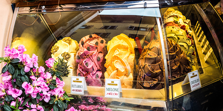 Ice cream on display in Florence, Italy.