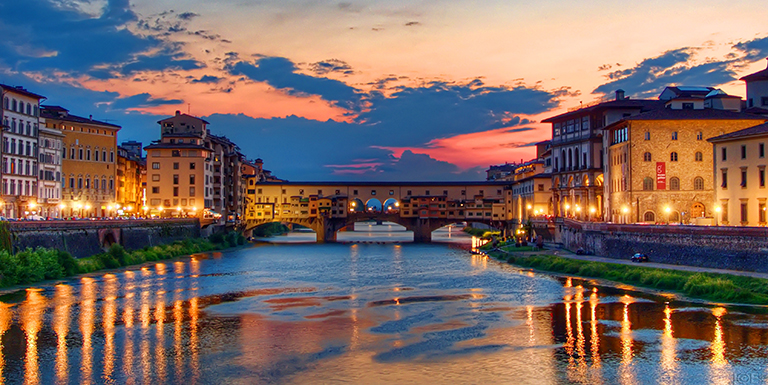 Sunset in Florence, Italy.