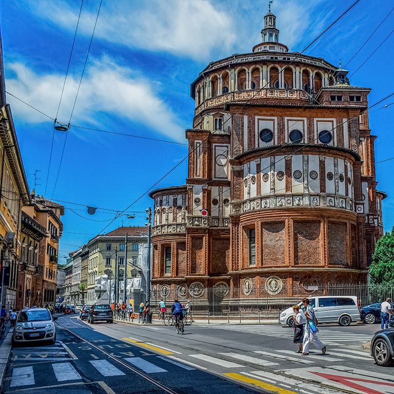 Street view of Milan, Italy.